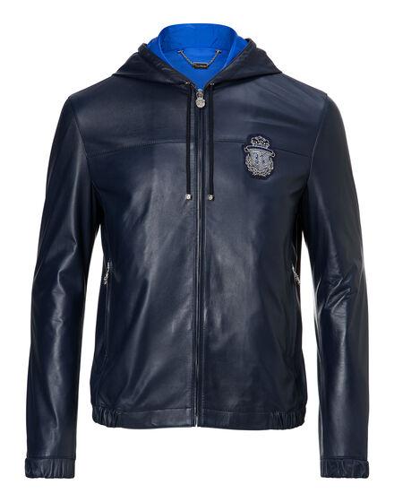 Leather Crest hood Jacket